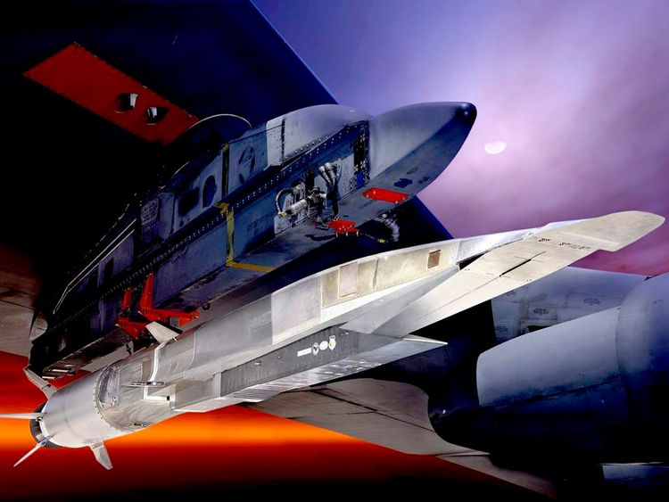 An undated US Air Force handout graphic depicts the X-51A Waverider under the wing of a B-52 Stratobomber.