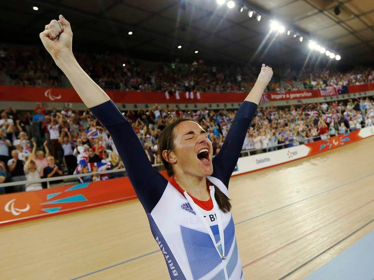 Sarah Storey reacts after winning gold in London 2012 Paralympic games