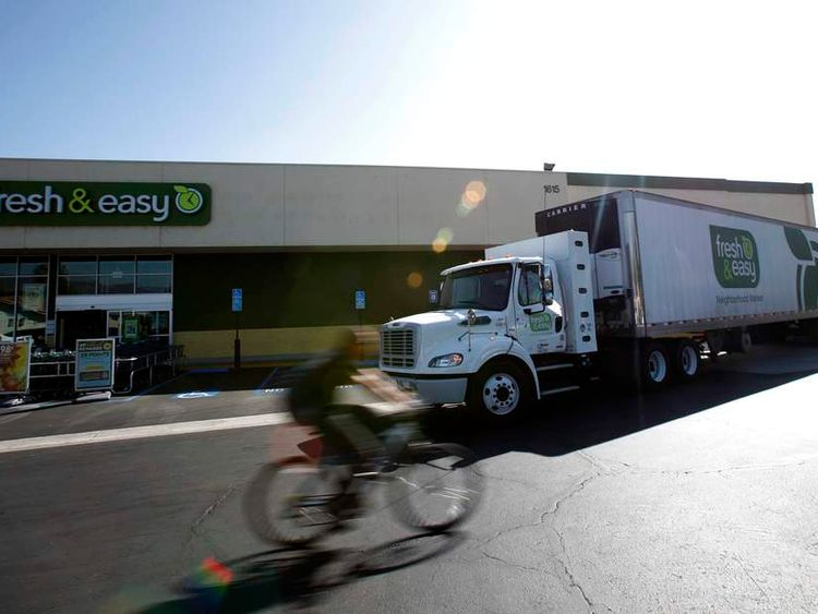 A truck unloads goods at a Fresh & Easy store in Burbank, California