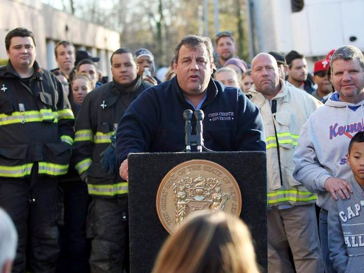 Handout photo of Governor Chris Christie holds a press conference at a Relief Center at the Joseph R. Bolger Middle School in the wake of Hurricane Sandy in Keansburg