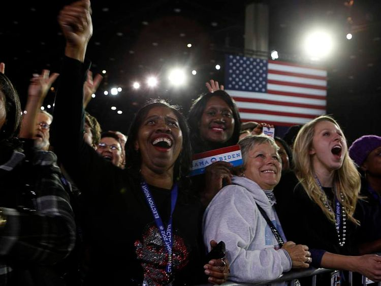 Supporters of U.S. President Barack Obama cheer during his election night rally in Chicago