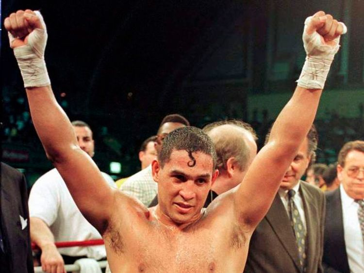"Hector ""Macho"" Camacho celebrates beating Sugar Ray Leonard"