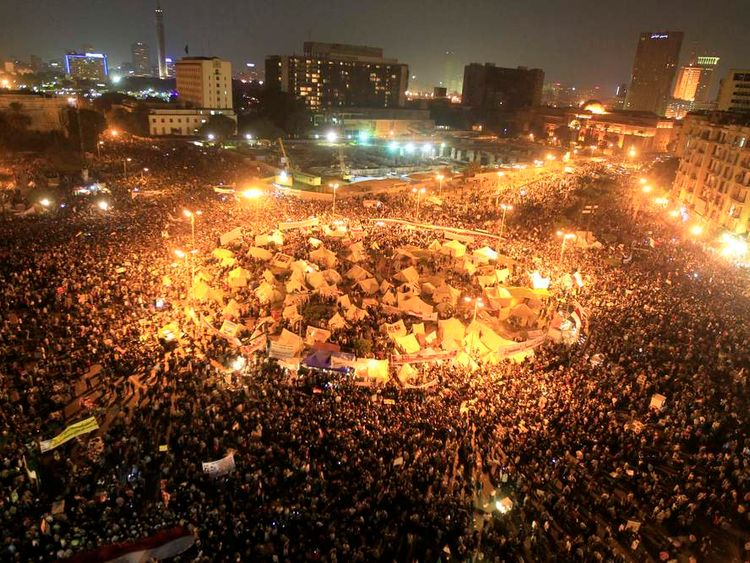 A general view of anti-Morsi protesters gathering at Tahrir Square in Cairo