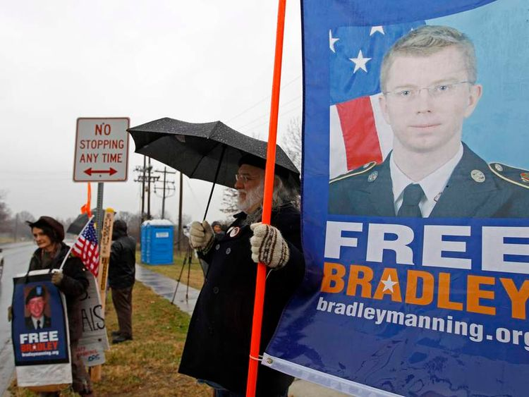 Supporters of U.S. Army Pfc. Bradley Manning protest during his scheduled motion hearing, outside the gates of Fort Meade