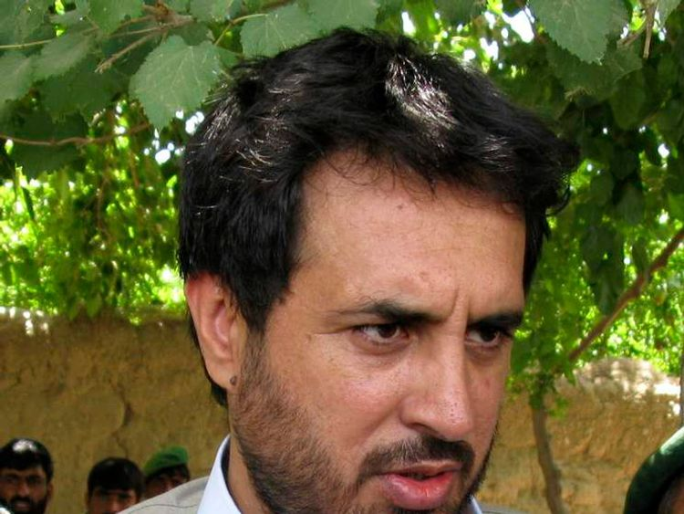 File picture shows Afghanistan's Intelligence Chief Khalid speaking to the media in the Arghandab district of Kandahar province