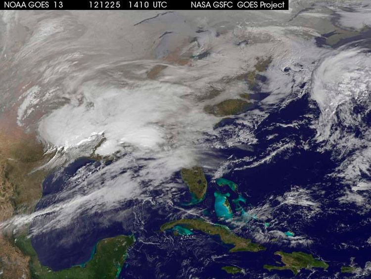 A NASA pictures shows storm clouds on the US east coast on Christmas Day