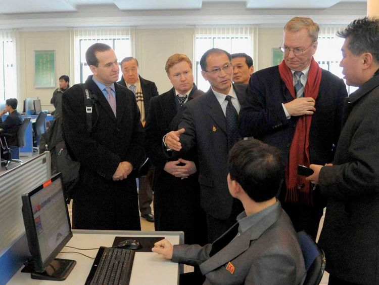 U.S. delegations including Google Executive Chairman Eric Schmidt visit Kim Il-Sung University in Pyongyang