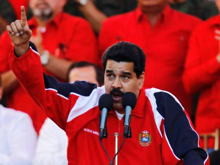 Venezuelan Vice President Nicolas Maduro speaks during the rally