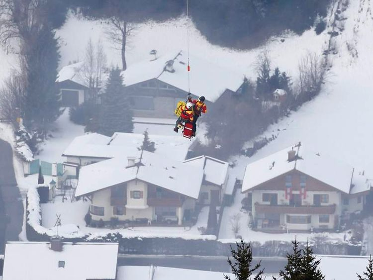 Lindsey Vonn of the U.S. is airlifted after crashing during the women's Super G race at the World Alpine Skiing Championships in Schladming
