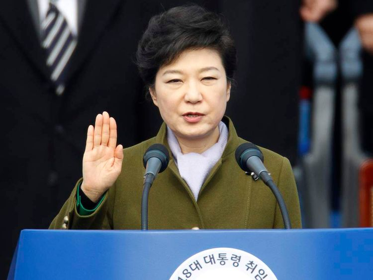 Park Geun-hye takes the oath of office