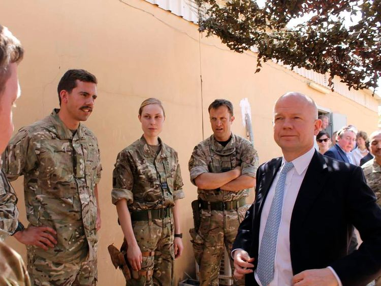 William Hague meeting British troops in Mali