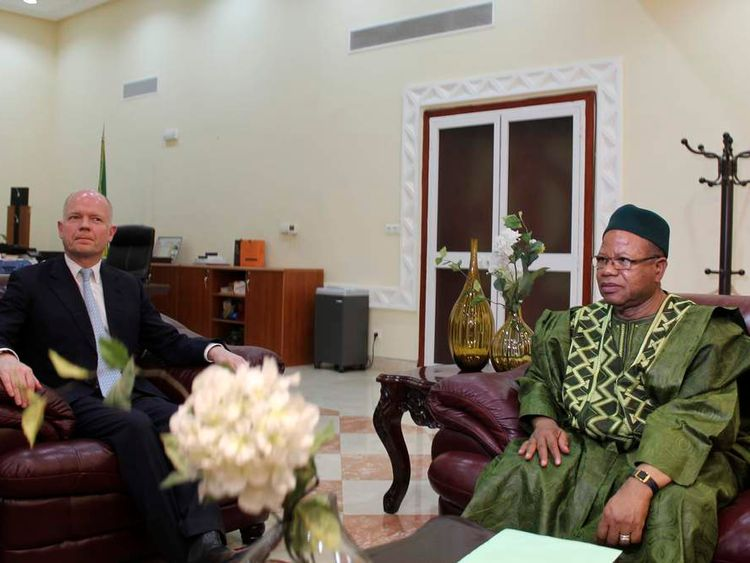 Britain's Foreign Secretary Hague meets with Mali's Prime Minister Cissoko