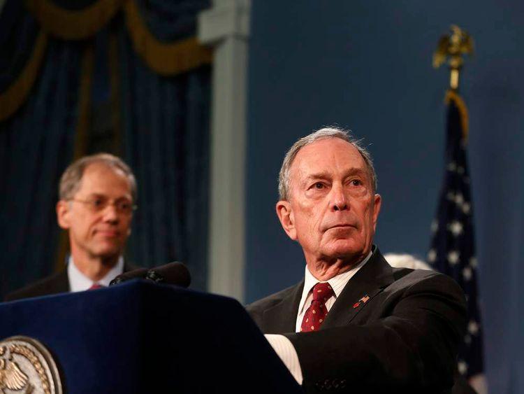 New York City Mayor Michael Bloomberg speaks to the media at New York's City Hall