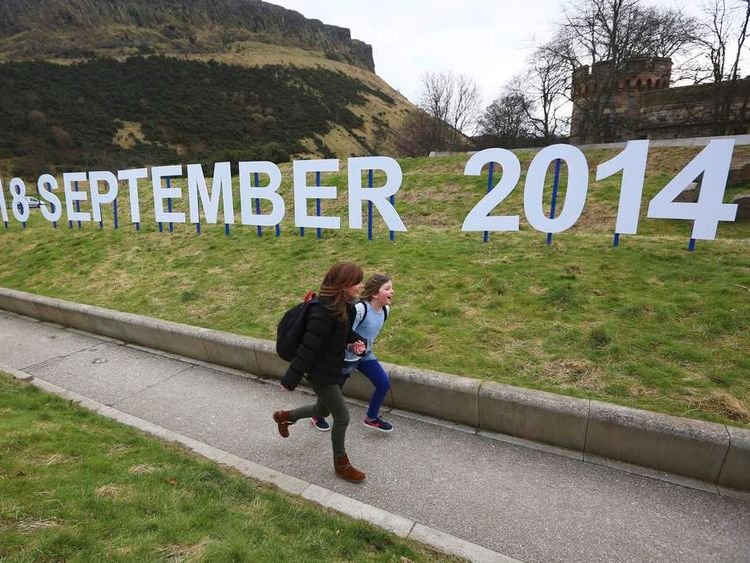 Scottish independence vote sign outside Holyrood
