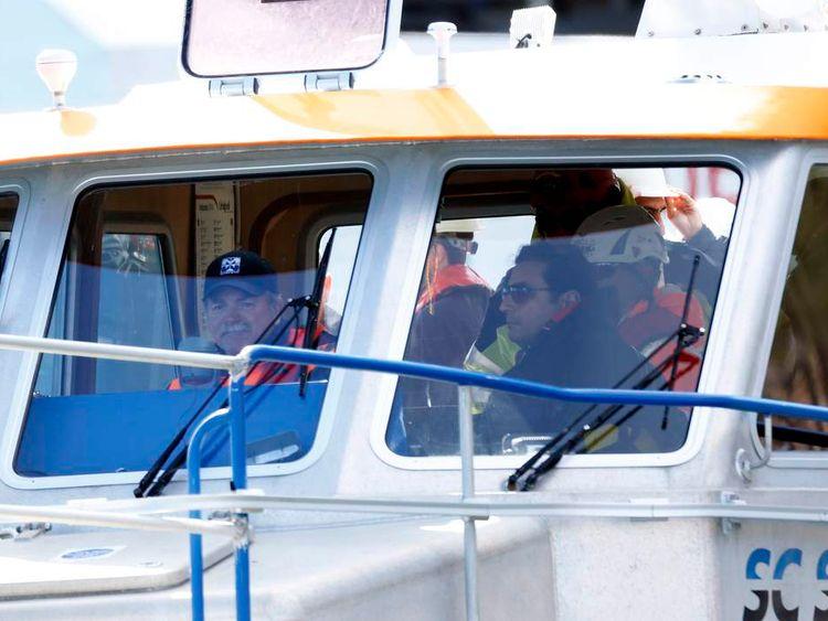Captain Francesco Schettino takes a boat ride to get to the Costa Concordia