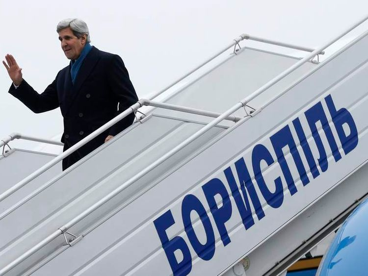 US Secretary of State John Kerry arrives in Kiev