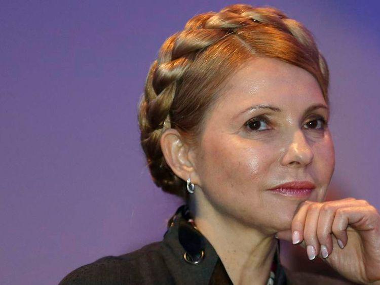 Yulia Tymoshenko listens to a speaker in Dublin