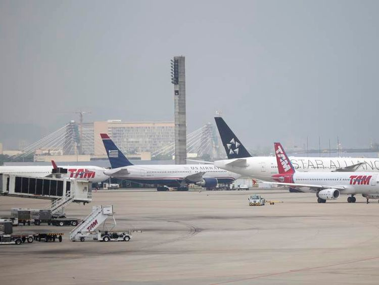 Planes are pictured at Rio de Janeiro's international airport