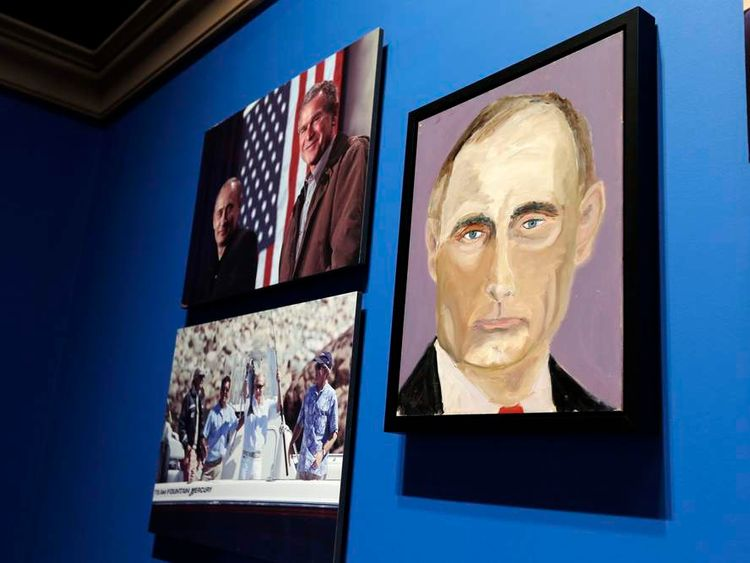 A portrait of Russian President Vladimir Putin, painted by former US President George W Bush