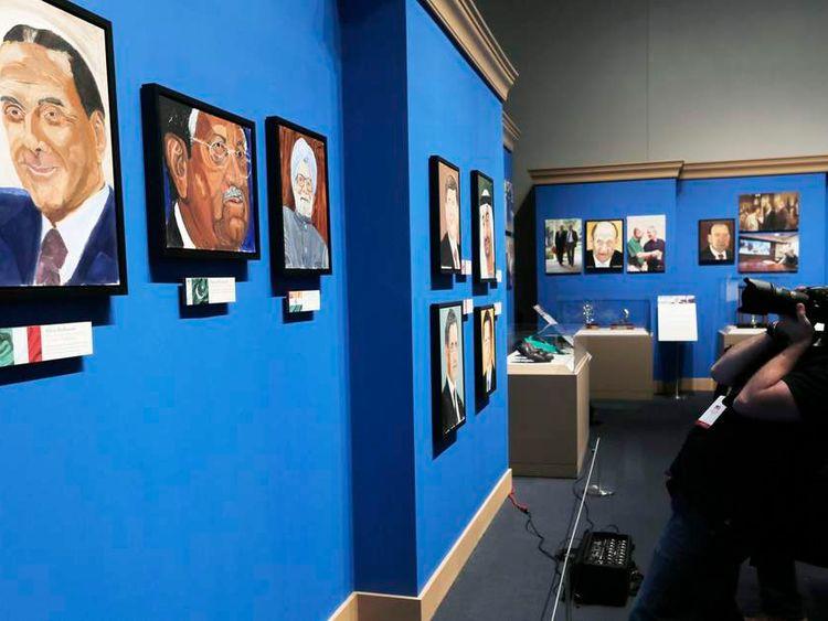 A portrait of Silvio Berlusconi, painted by former US President George W Bush