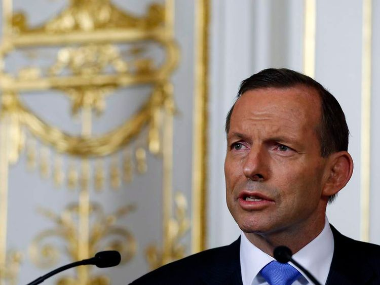 Australia's PM Abbott speaks to the media after meeting with Japan's PM Abe at the state guest house in Tokyo