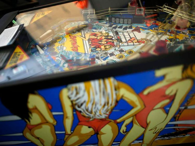 Baywatch pinball machine belonging to David Hasselhoff is seen at auction house in Beverly Hills
