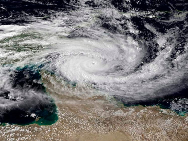 NOAA satellite picture of category 5 Tropical Cyclone Ita approaching the far north Queensland coast of Australia