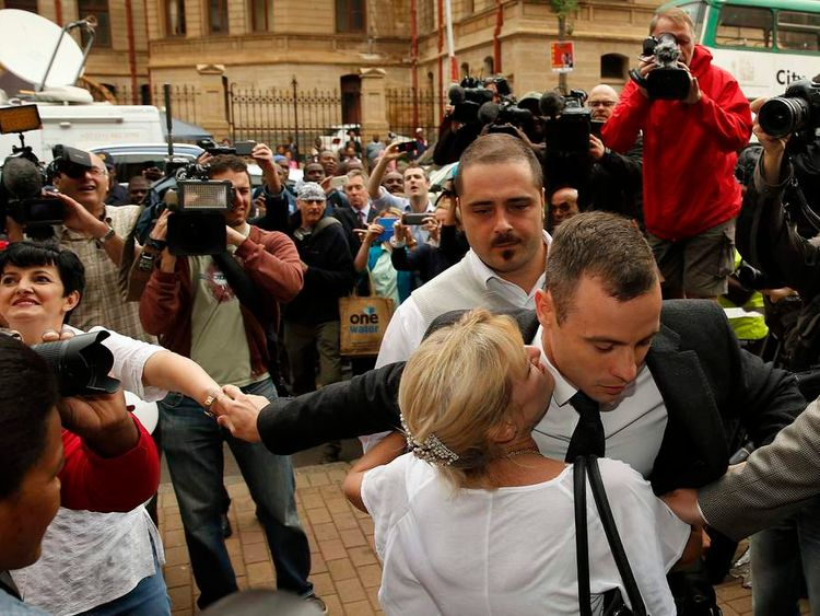 Oscar Pistorius arrives at court