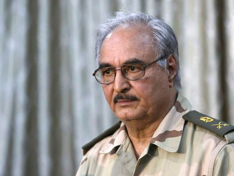 General Khalifa Haftar attends a news conference in Abyar.