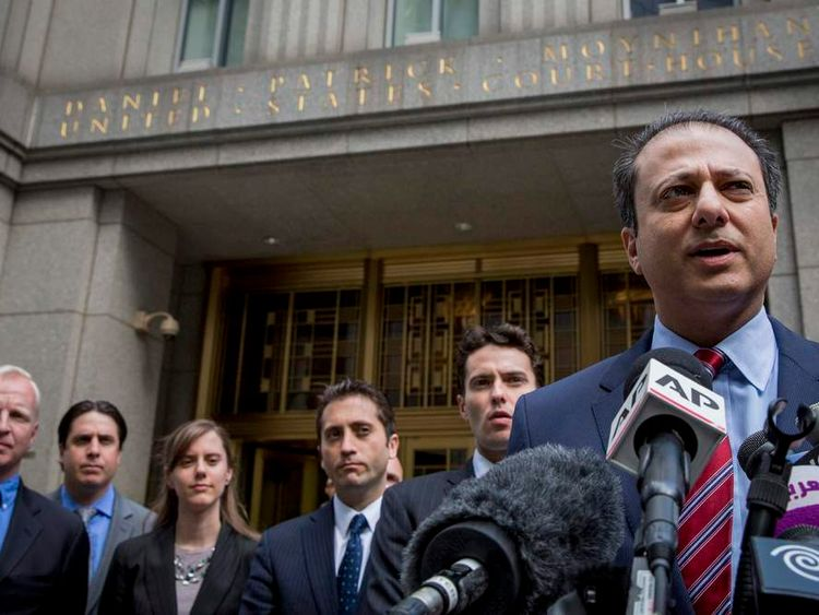 U.S. Attorney for the Southern District of New York Bharara speaks during a news conference about the verdict in the Abu Hamza case in New York