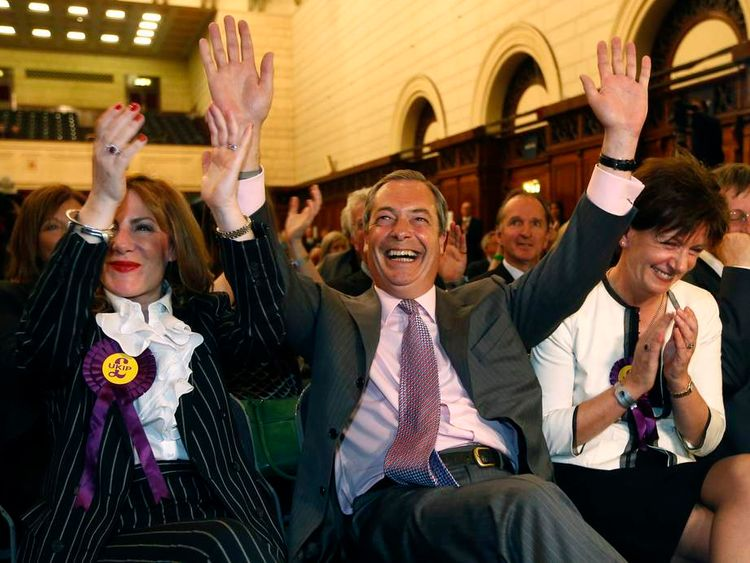 UK Independence Party  (UKIP) leader Nigel Farage, and UKIP candidates Janice Atkinson and Diane Jones react to the results of the European Parliament election for the south east region, in Southampton