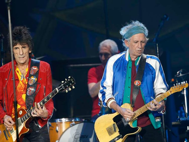 Members of the Rolling Stones perform during a concert at the Telenor Arena, in Fornebu, Baerum