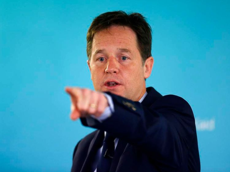 Britain's Deputy Prime Minister and leader of the Liberal Democrats, Nick Clegg, points during a question and answer session after delivering a speech on international development, in London