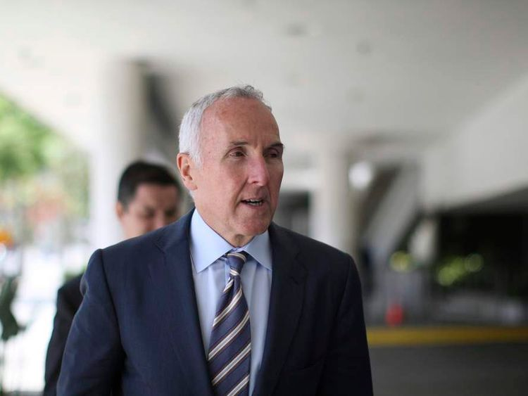 Former Los Angeles Dodgers owner Frank McCourt leaves after testifying in Bryan Stow's civil trial against him in Los Angeles