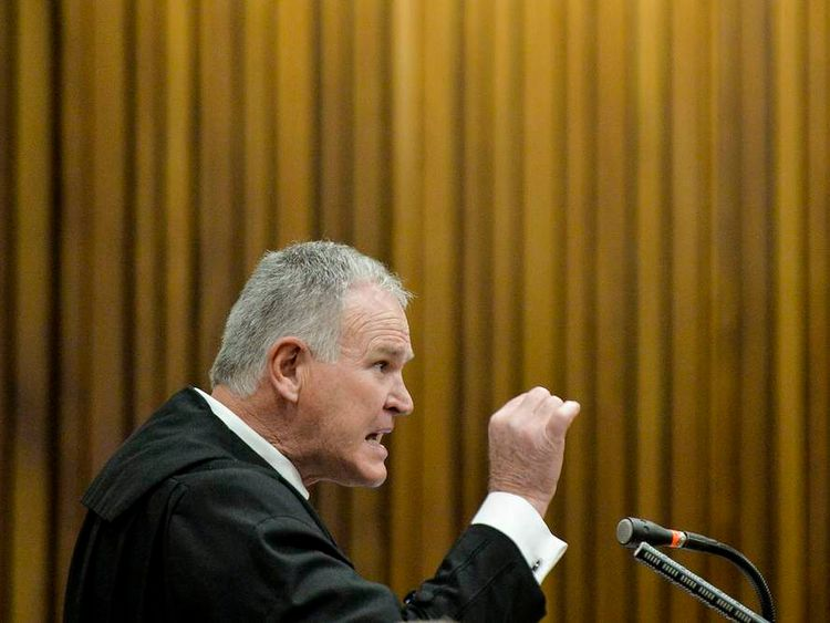 Defence lawyer Roux makes a point during closing arguments in the murder trial of South African Olympic and Paralympic sprinter Pistorius in the North Gauteng High Court in Pretoria