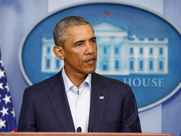 US President Barack Obama gives a news conference at the White House