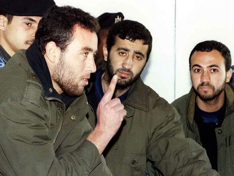 File photo of Raed al-Attar, Mohammed Abu Shammala and Osama Abu Atah from Hamas