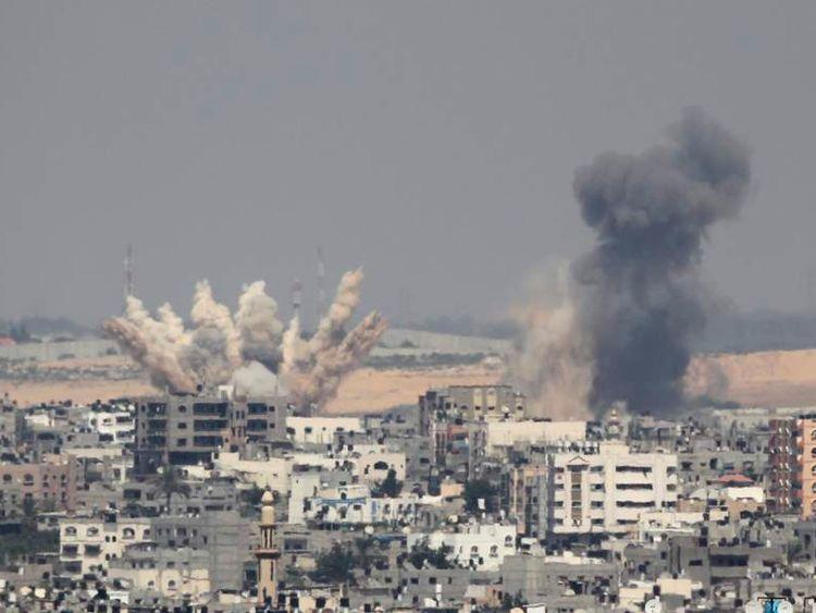 Smoke rises following what witnesses said were Israeli air strikes in Gaza