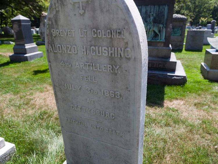 Handout photo of gravestone of U.S. Army First Lieutenant Alonzo Cushing at West Point Cemetery, in New York