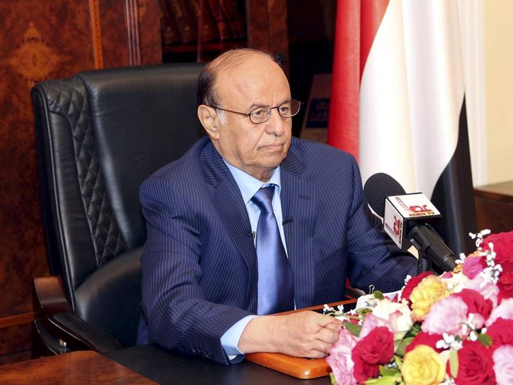 Yemen's President Abd-Rabbu Mansour Hadi delivers a speech in Aden