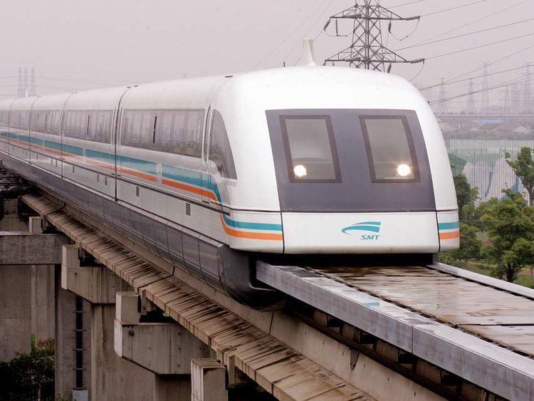 Maglev train arrives at Long Yang station after its trip from Pudong Airport