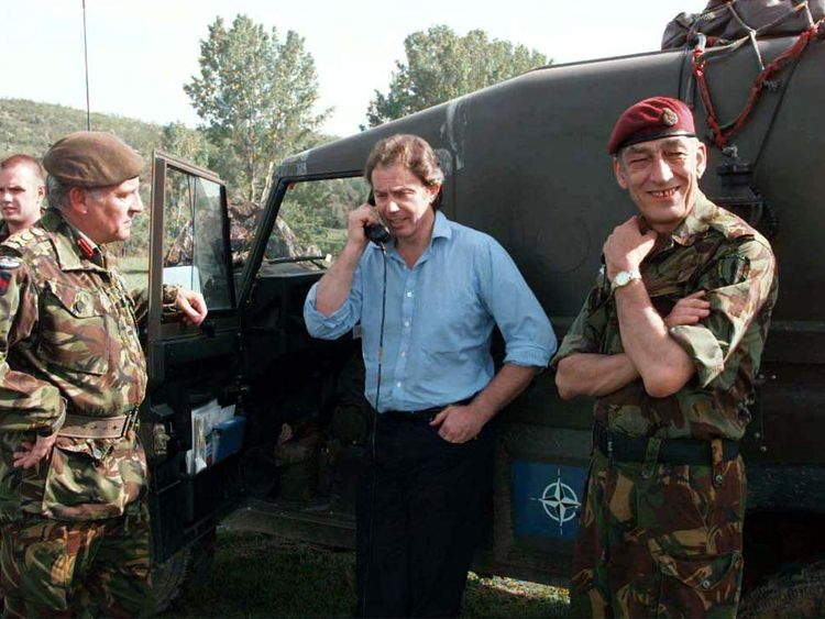 Tony Blair in Kosovo in 1999