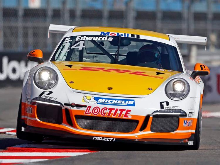 British driver Sean Edwards competes in the Porsche Supercup race in Monaco