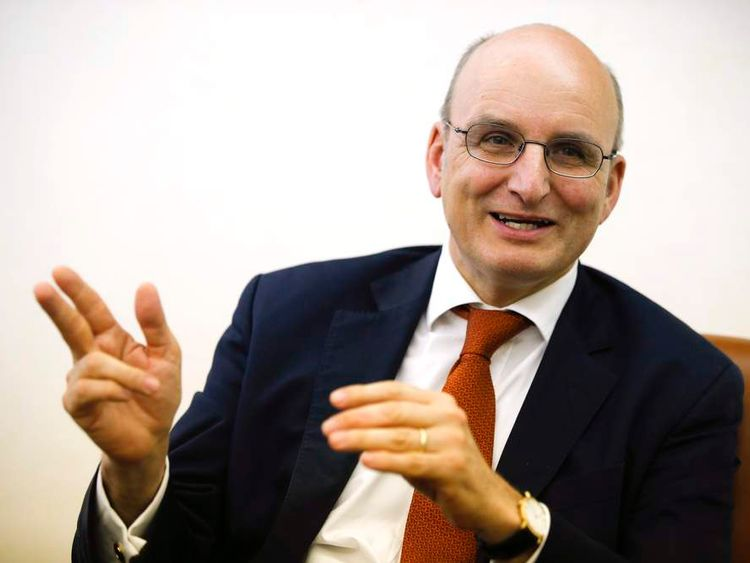 President of the Vatican bank Ernst von Freyberg gestures during an interview with Reuters in his office at the Vatican