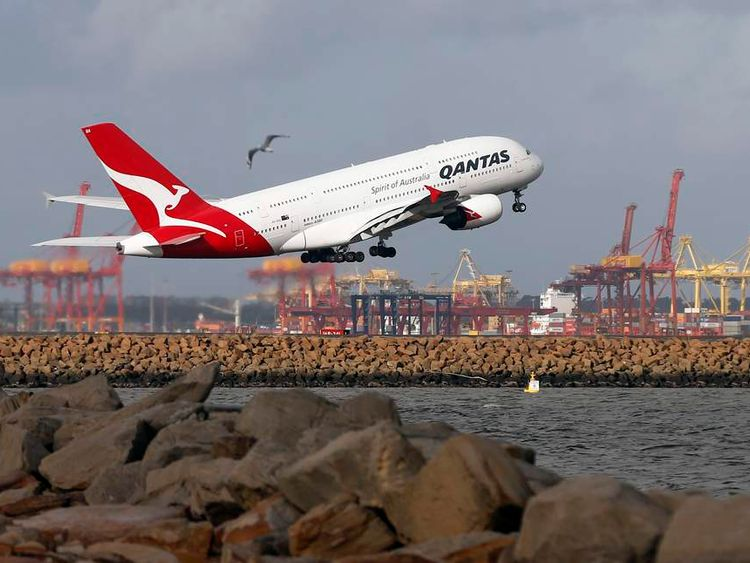 A Qantas plane A380 takes off from Kingsford Smith International airport in Sydney