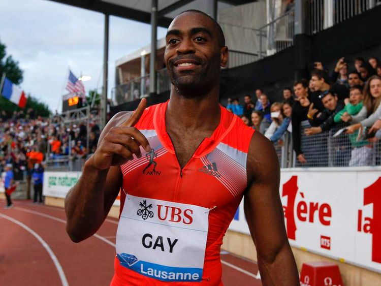 Gay of the U.S. gestures after winning in the 100m event of the Lausanne Diamond League meeting in Lausanne