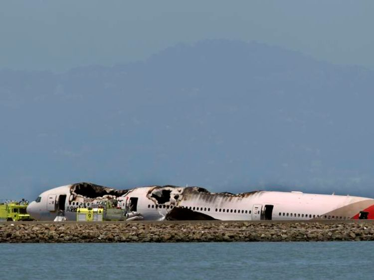 Wreckage of Asiana Airlines Boeing 777 that crashed while landing at San Francisco International Airport is seen in San Francisco