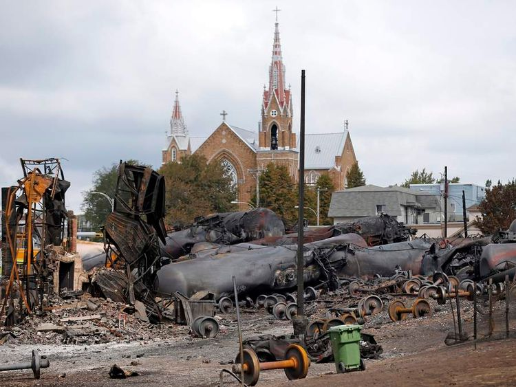 Wagons of the train wreck are seen in Lac-Megantic, Canada