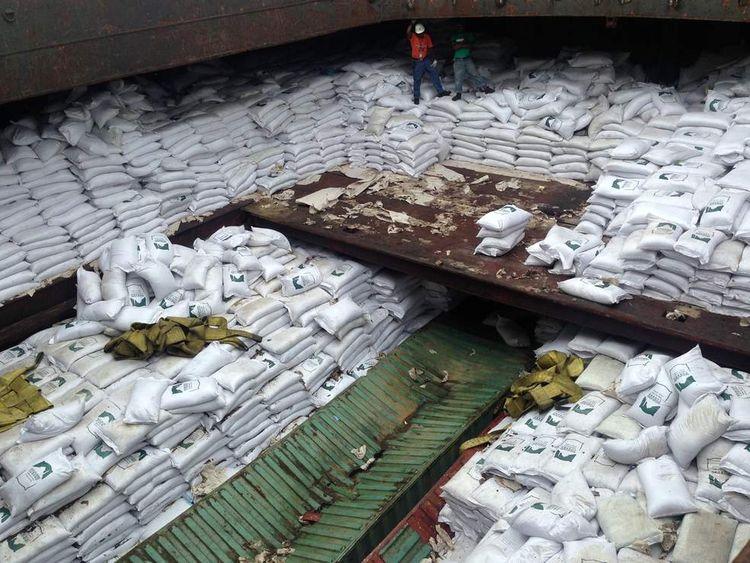 Bags of sugar on North Korean ship