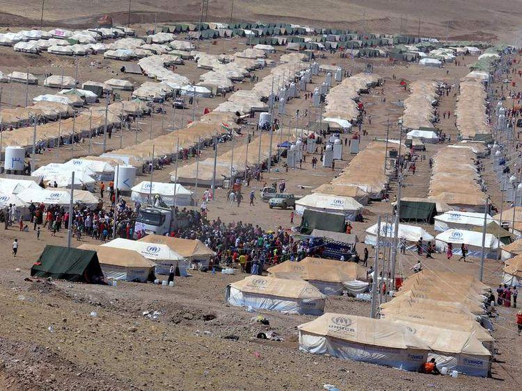 Quru Gusik refugee camp is seen on the outskirts of Arbil in Iraq's Kurdistan region
